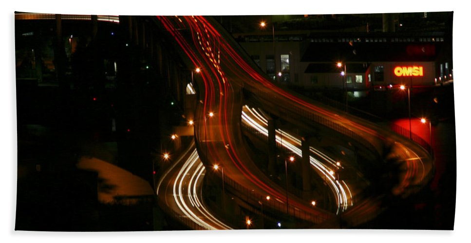Night Lights Oregon Bath Sheet featuring the photograph Night Lights Oregon by Wes and Dotty Weber