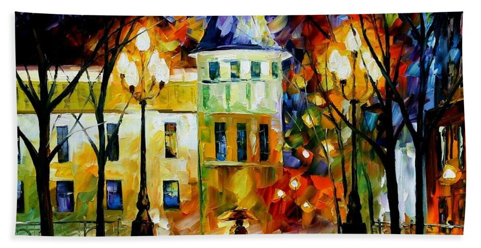 Afremov Bath Sheet featuring the painting Night Magic by Leonid Afremov
