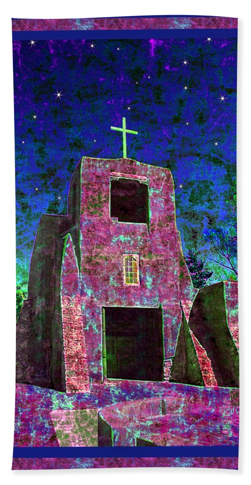 Mission Bath Sheet featuring the photograph Night Magic San Miguel Mission by Kurt Van Wagner