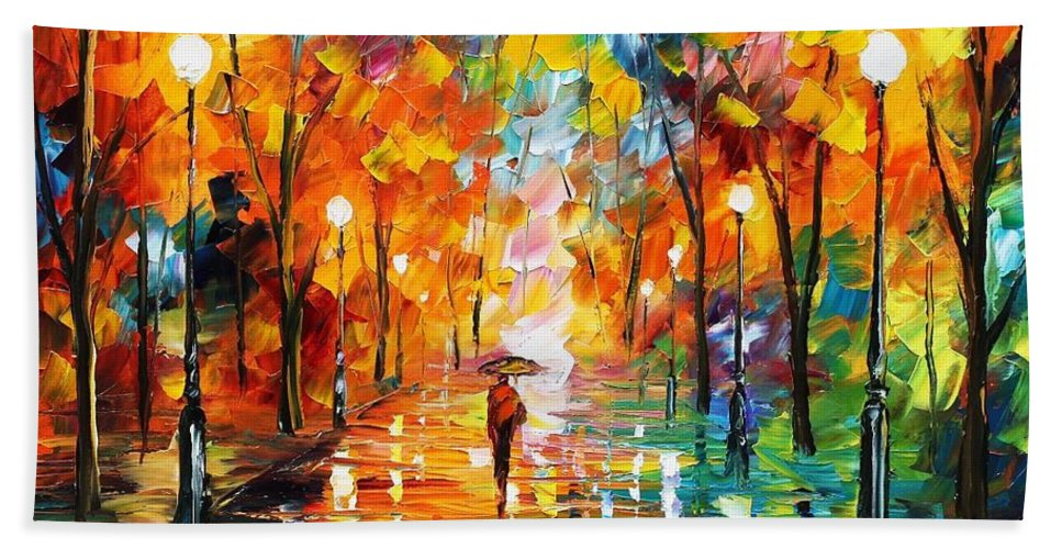 Afremov Bath Sheet featuring the painting Night Mood In The Park by Leonid Afremov