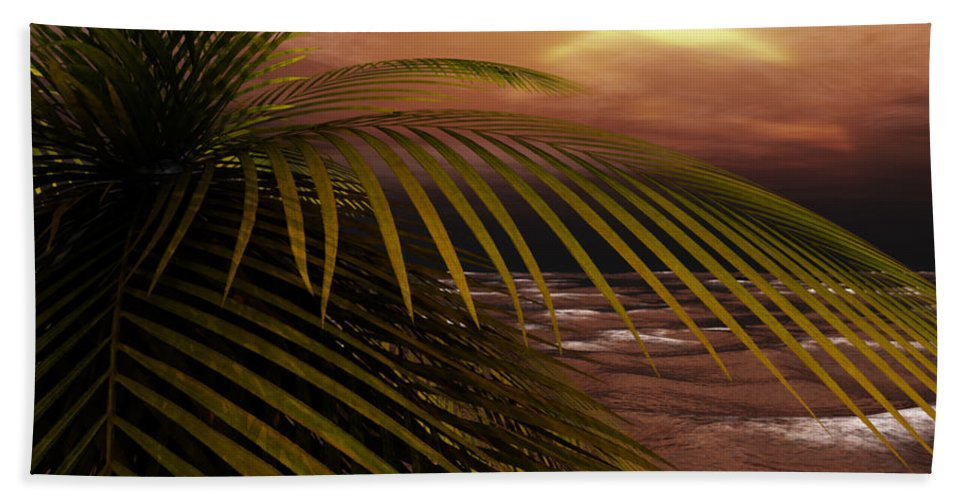 Tropical Hand Towel featuring the digital art Night Moves by Richard Rizzo