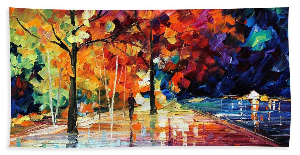 Afremov Hand Towel featuring the painting Night New Original by Leonid Afremov