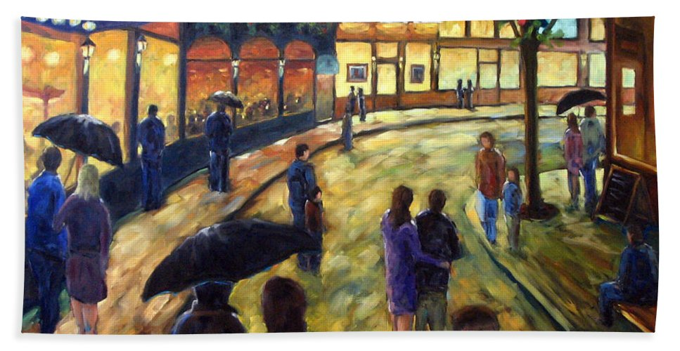 Cityscape Bath Towel featuring the painting Night On The Town by Richard T Pranke