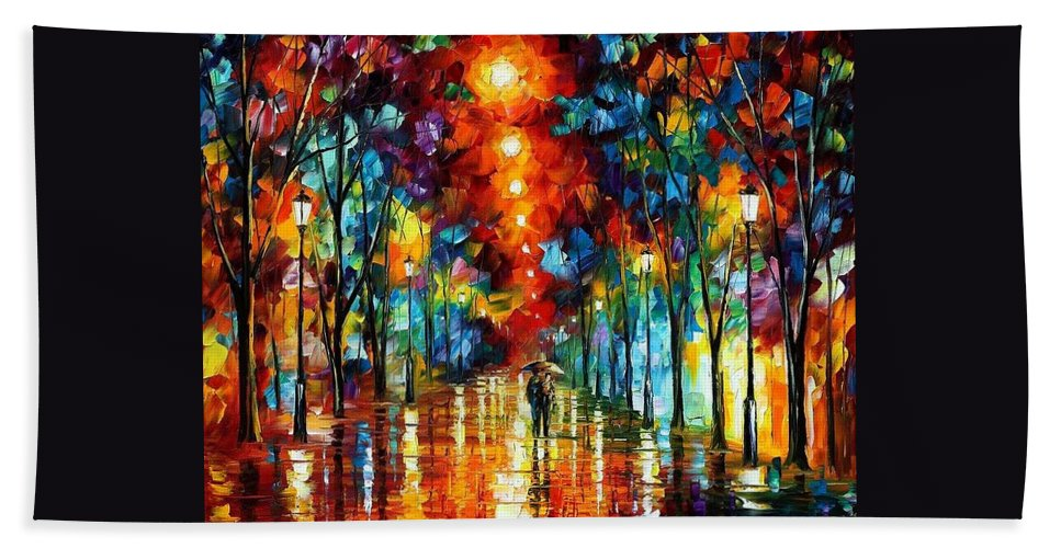 Afremov Hand Towel featuring the painting Night Park by Leonid Afremov