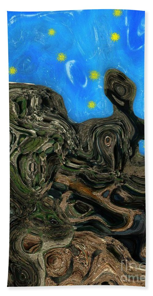 Abstract Hand Towel featuring the painting Night Petrified by RC DeWinter