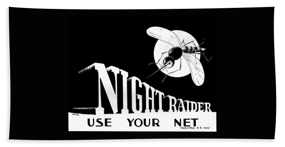 World War Ii Bath Sheet featuring the painting Night Raider Ww2 Malaria Poster by War Is Hell Store