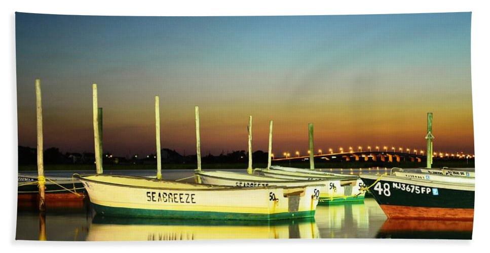 Seaside Heights Bath Sheet featuring the photograph Night Reflections by Bob Cuthbert