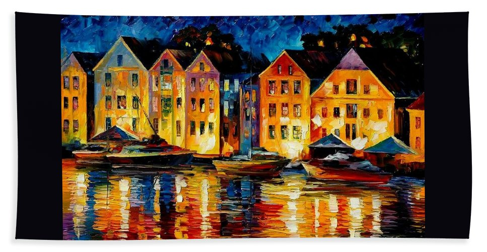 City Bath Sheet featuring the painting Night Resting Original Oil Painting by Leonid Afremov