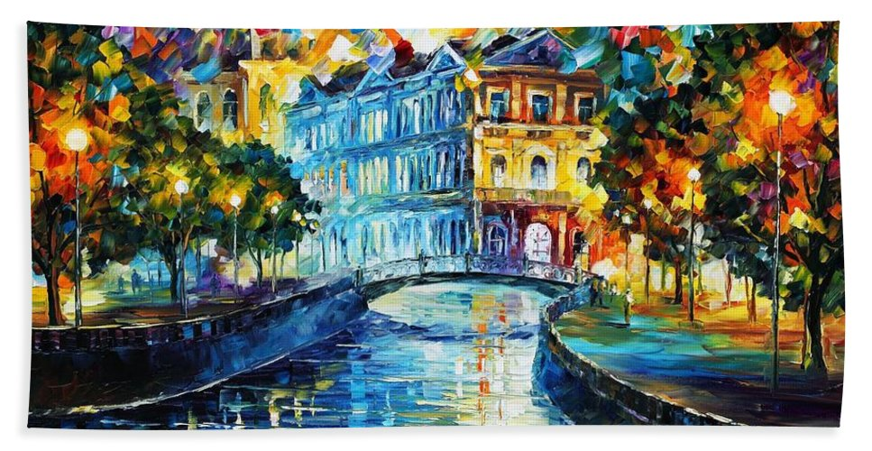Afremov Bath Sheet featuring the painting Night River by Leonid Afremov