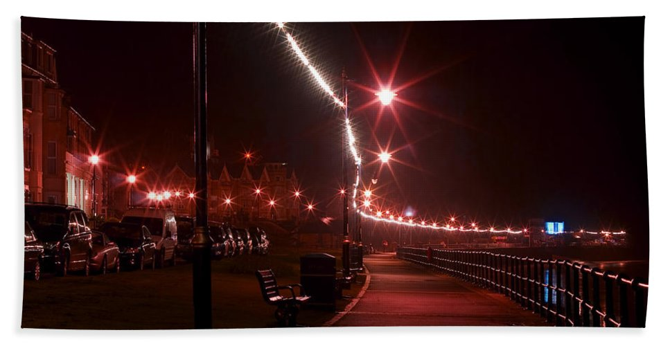 Night Hand Towel featuring the photograph Night Road by Svetlana Sewell