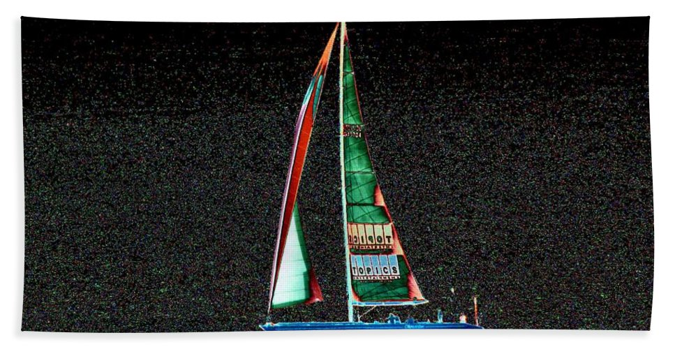 Seattle Hand Towel featuring the photograph Night Sail 2 by Tim Allen