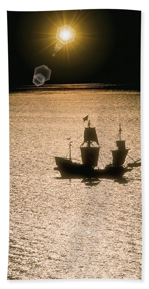 Sail Hand Towel featuring the photograph Night Sail by Tim Allen