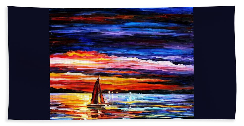 Seascape Hand Towel featuring the painting Night Sea by Leonid Afremov