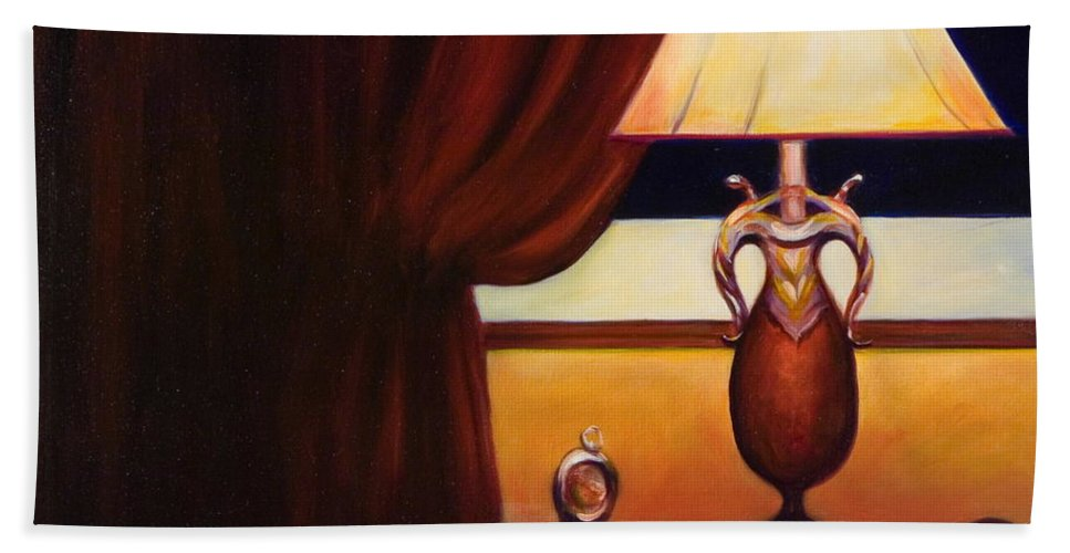 Still Life Red Hand Towel featuring the painting Night by Shannon Grissom