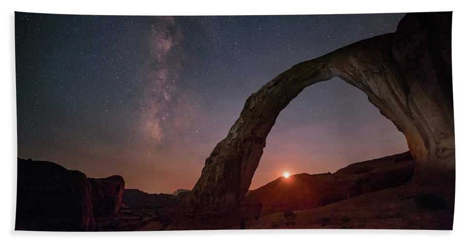 Astrophotography Hand Towel featuring the photograph Night Sky At Corona Ach by Alex Conu