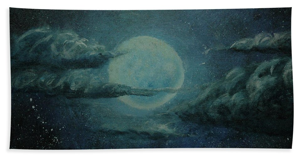 Moon Hand Towel featuring the painting Night Sky Peek-a-boo by Kathy Carlson