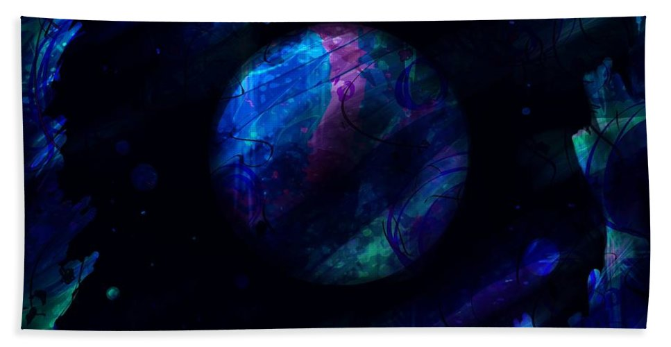 Abstract Hand Towel featuring the digital art Night Sky by Rachel Christine Nowicki