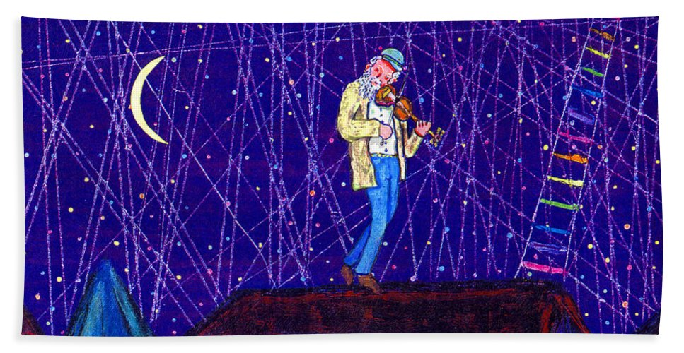 Jewish Hand Towel featuring the painting Night Song by Michael A Klein