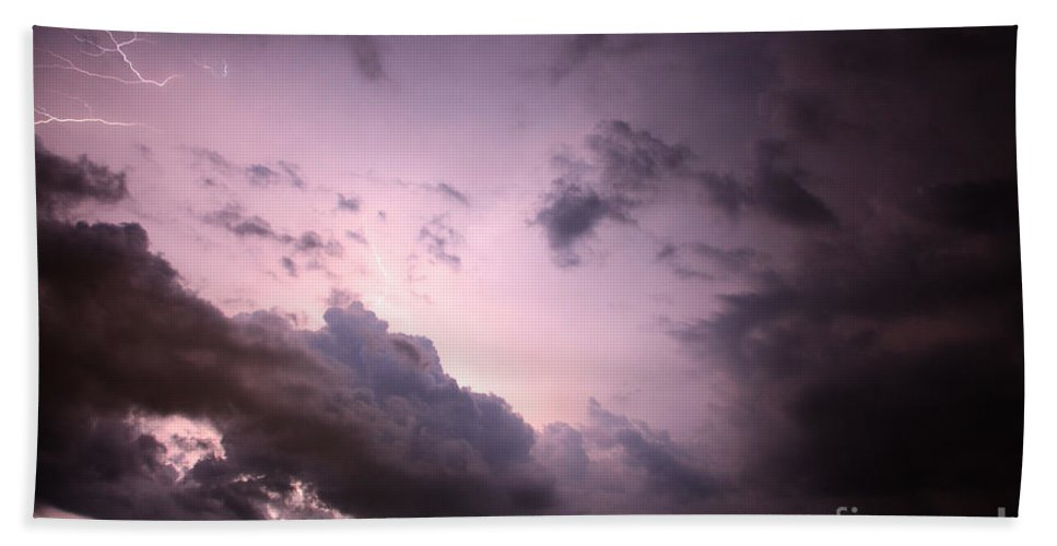 Lightning Bath Sheet featuring the photograph Night Storm by Amanda Barcon