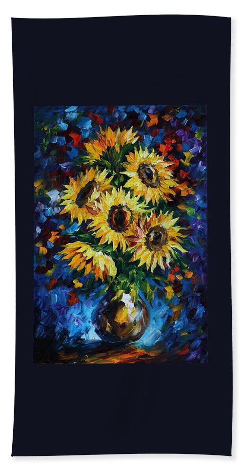 Afremov Hand Towel featuring the painting Night Sunflowers by Leonid Afremov
