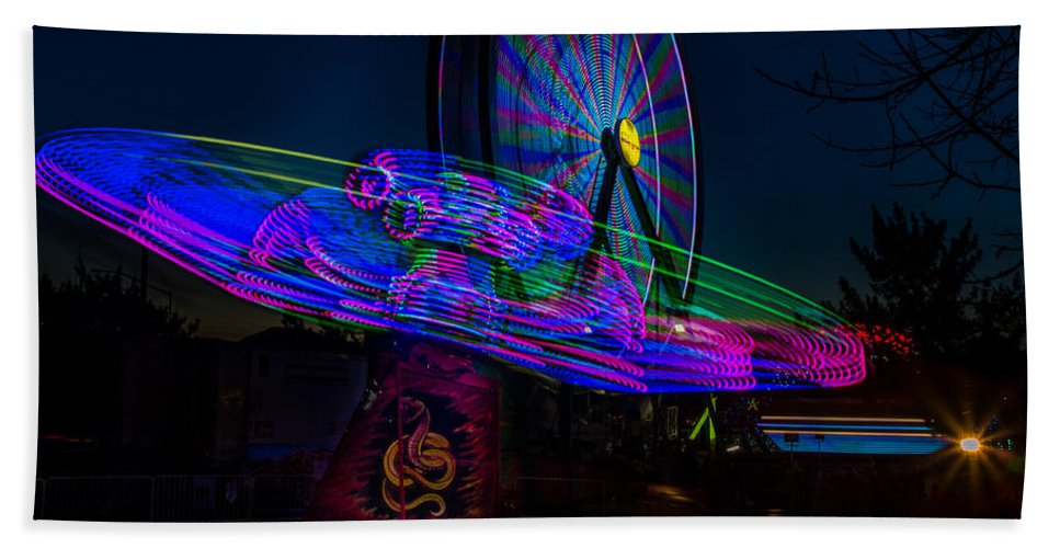 Alien Ship Hand Towel featuring the photograph Night Time Fun by Michele James