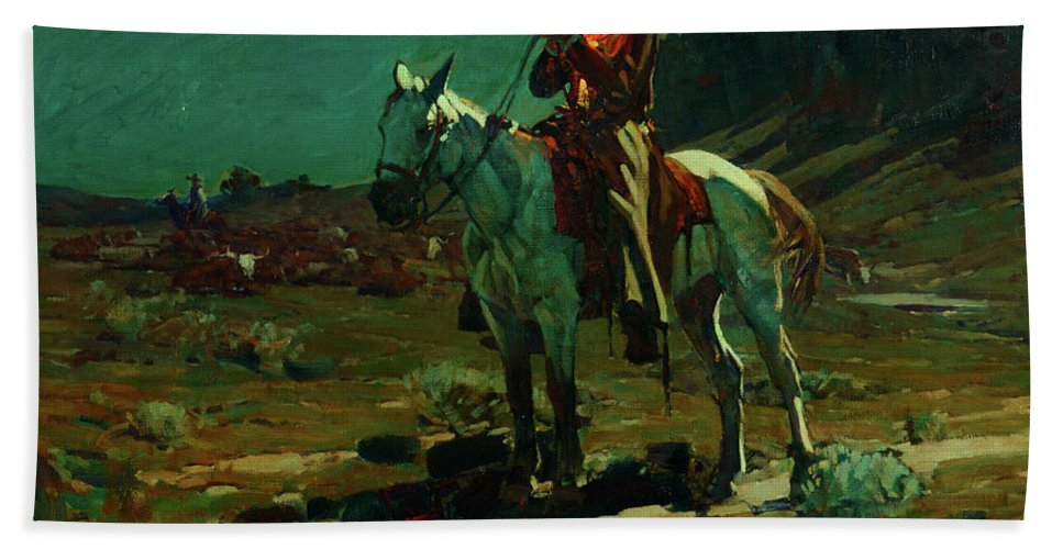 America Bath Sheet featuring the painting Night Time In Wyoming by Frank Tenney Johnson