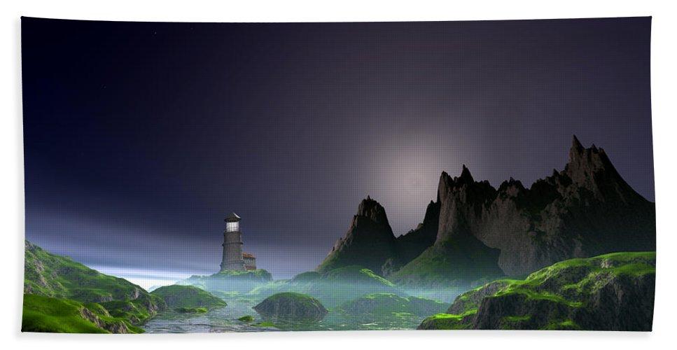 Ocean Landscape Framed Prints Bath Sheet featuring the digital art Night Time Ocean Scene by John Junek