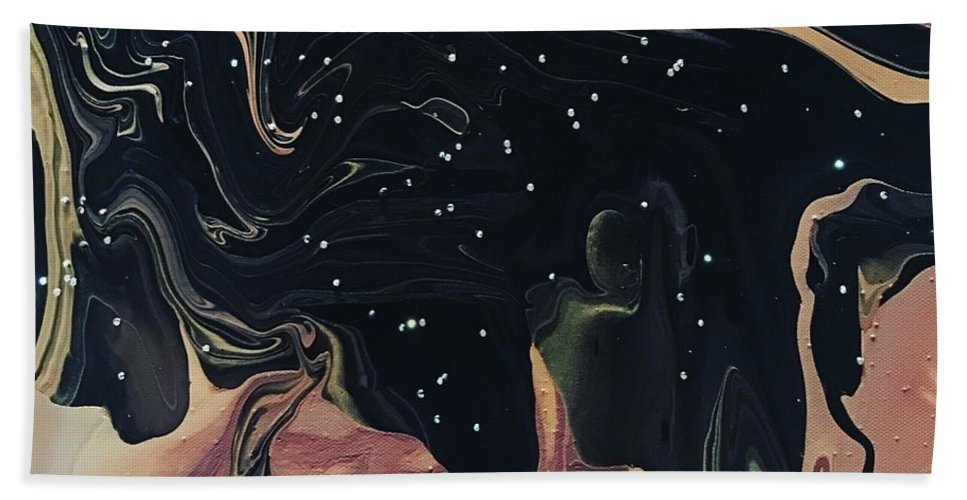 Abstract Acrylic Bath Sheet featuring the painting Night Time On Sahara by Cathie Moravcik