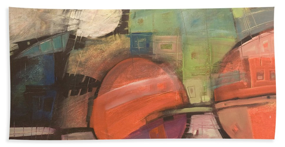 Train Bath Towel featuring the painting Night Train by Tim Nyberg