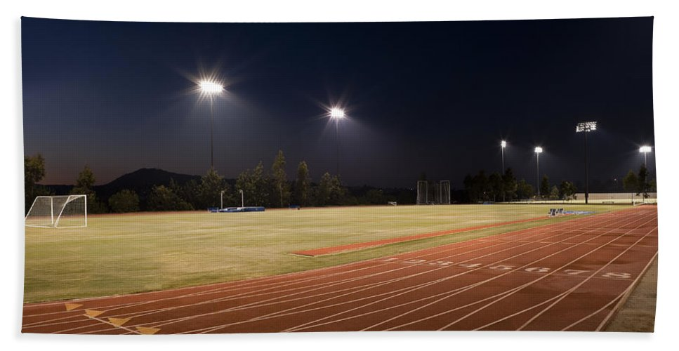 Sports Hand Towel featuring the photograph Night Training by Kelley King