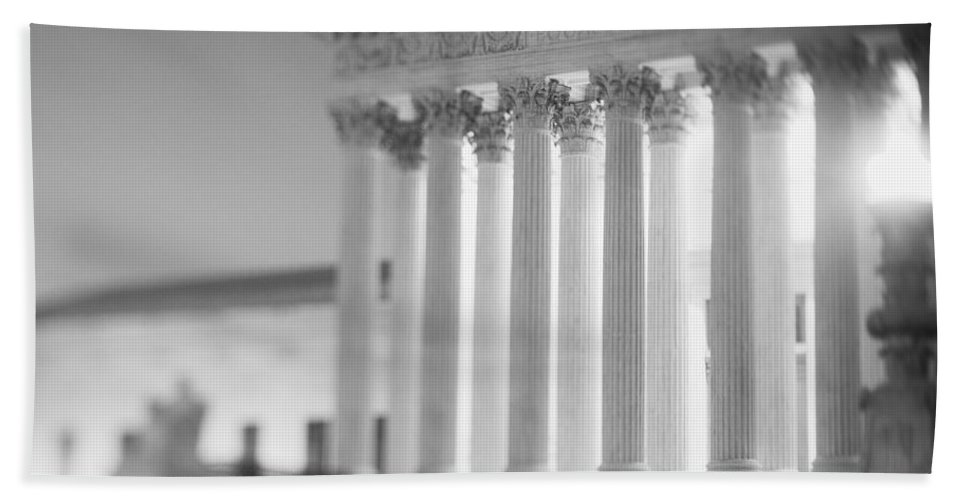 Photography Hand Towel featuring the photograph Night Us Supreme Court Washington Dc by Panoramic Images