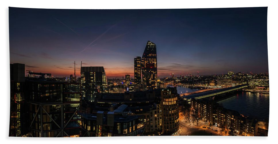 Thames Bath Sheet featuring the photograph Night View Of The City Of London by Nigel Forster