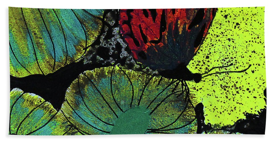 Butterfly Hand Towel featuring the painting Night Vision by Keshida Layone