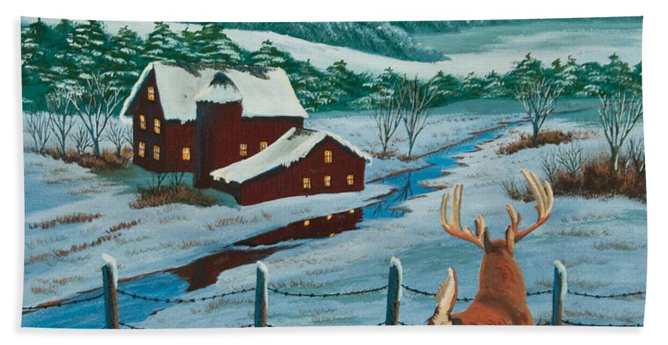 Deer Paintings Hand Towel featuring the painting Night Watch by Charlotte Blanchard