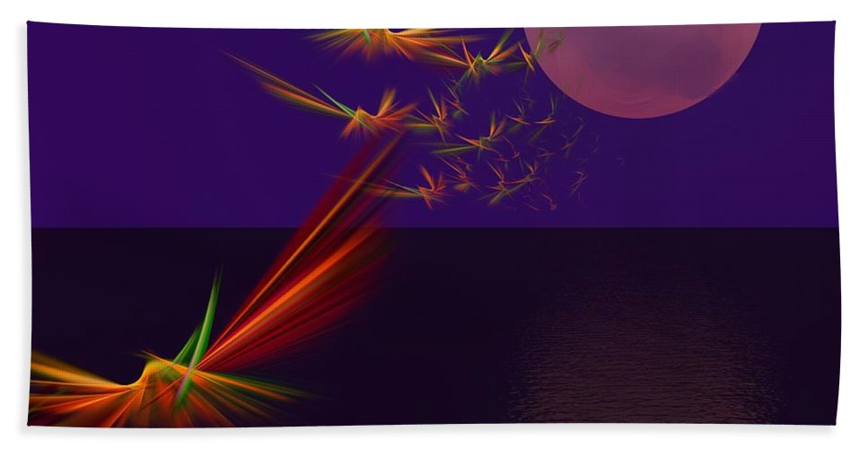 Abstract Digital Photo Bath Sheet featuring the digital art Night Wings by David Lane