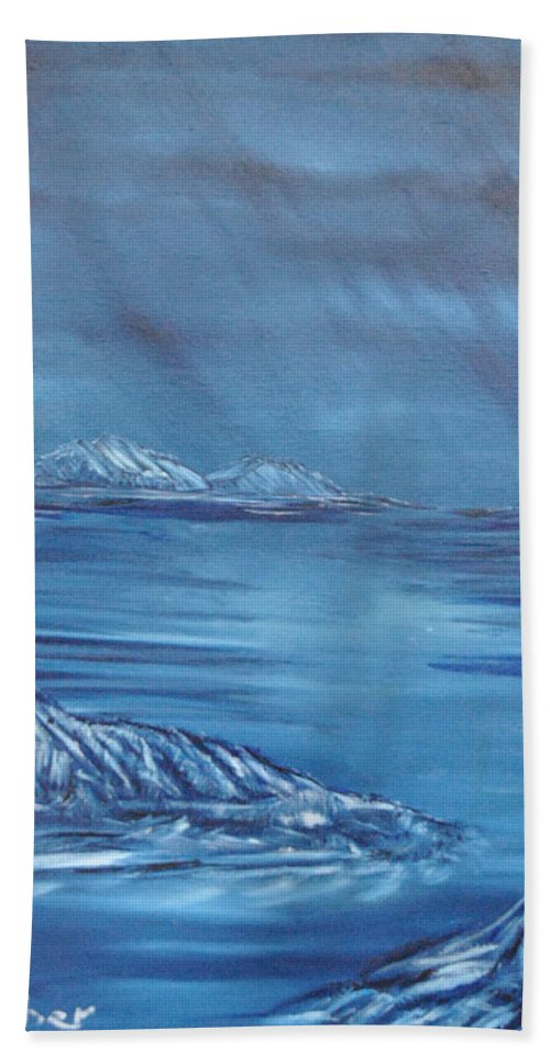 Night Hand Towel featuring the painting Night World by Suzanne Surber