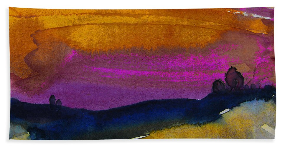 Watercolour Hand Towel featuring the painting Nightfall 04 by Miki De Goodaboom