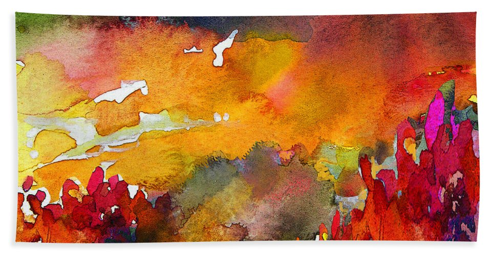 Watercolour Hand Towel featuring the painting Nightfall 06 by Miki De Goodaboom
