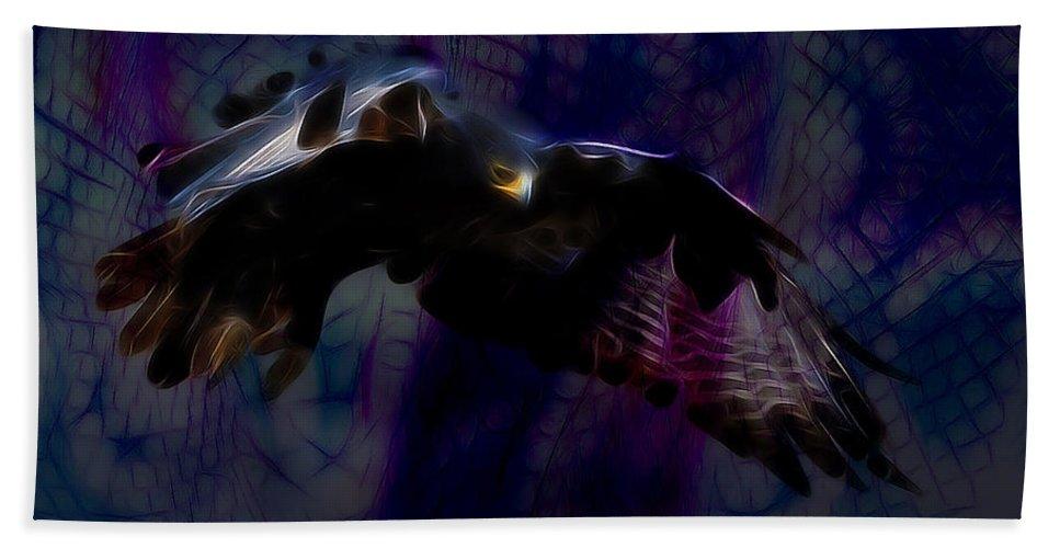 Hawk Bath Sheet featuring the digital art Nighthawk by David Derr
