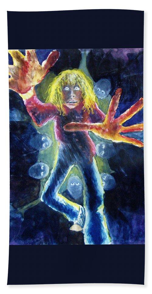 Nightmare Hand Towel featuring the painting Nightmare by Nancy Mueller