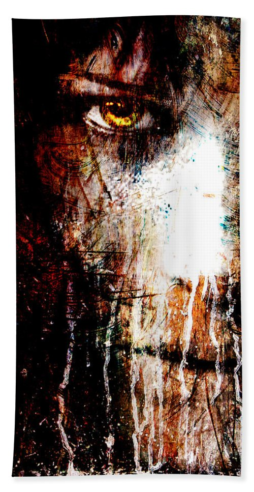 Yellow Hand Towel featuring the mixed media Night Eyes by Marian Voicu