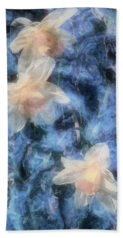 Daffodils Bath Sheet featuring the painting Nighttime Narcissus by RC DeWinter