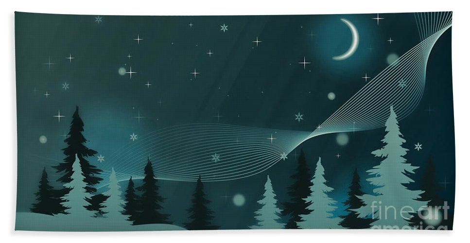 Winter Hand Towel featuring the photograph Nighttime by Sebastien Coell