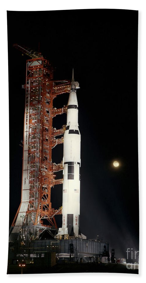1969 Bath Sheet featuring the photograph Nighttime View Of The Apollo 12 Space by Stocktrek Images