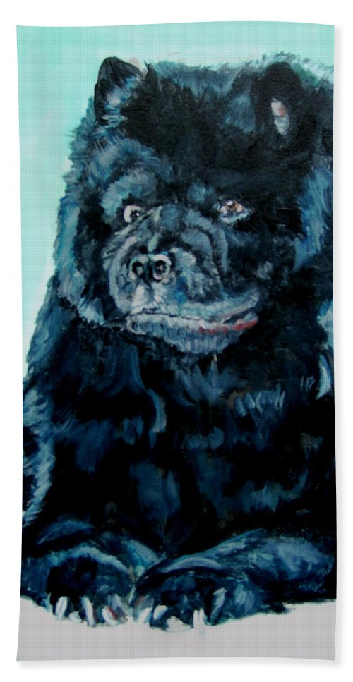 Dog Hand Towel featuring the painting Nikki The Chow by Bryan Bustard