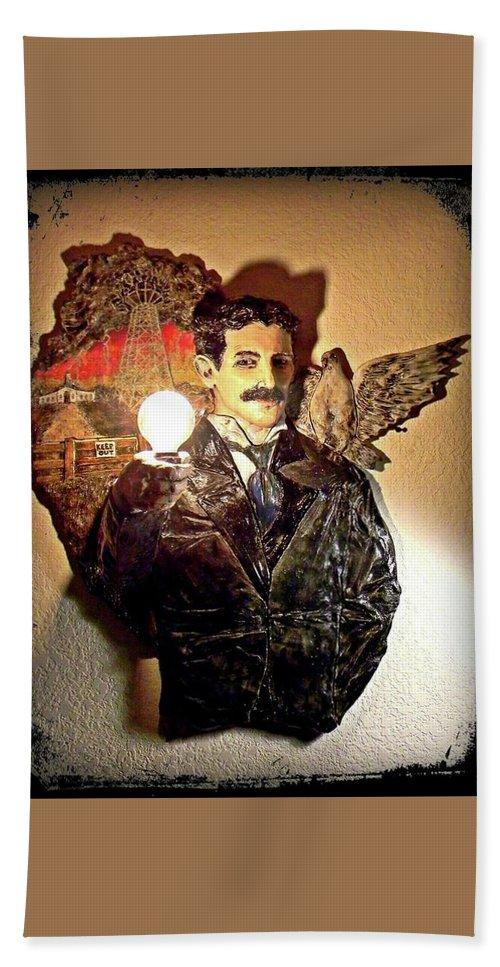 Nikola Bath Sheet featuring the ceramic art Nikola Tesla At Wardenclyffe by Corey Jenny