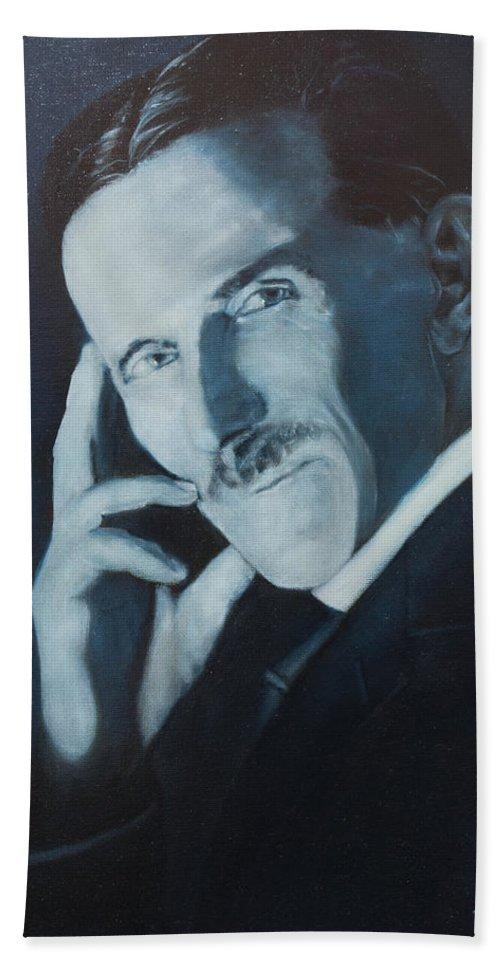 Nikola Teslafine Art Hand Towel featuring the painting Nikola Tesla - Blue Portrait by Darko Topalski