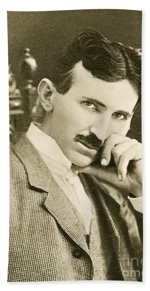 Science Bath Towel featuring the photograph Nikola Tesla, Serbian-american Inventor by Photo Researchers