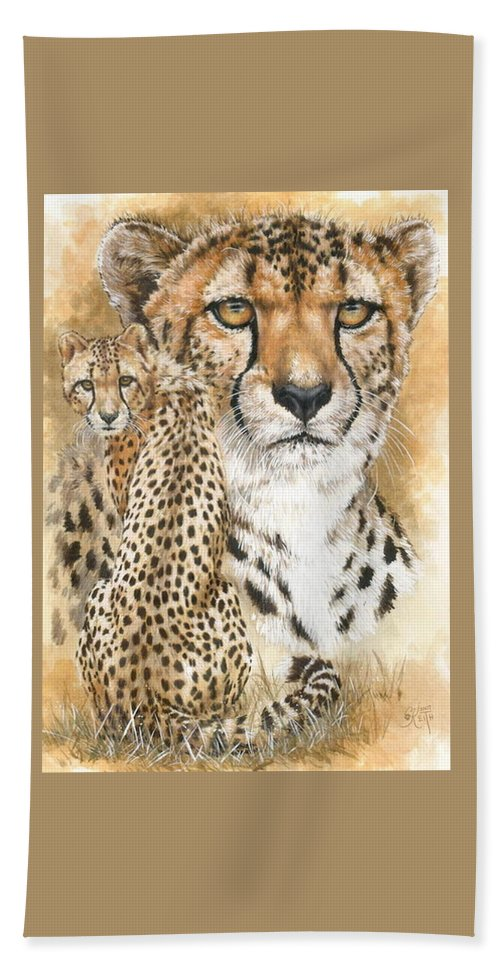 Cheetah Hand Towel featuring the mixed media Nimble by Barbara Keith