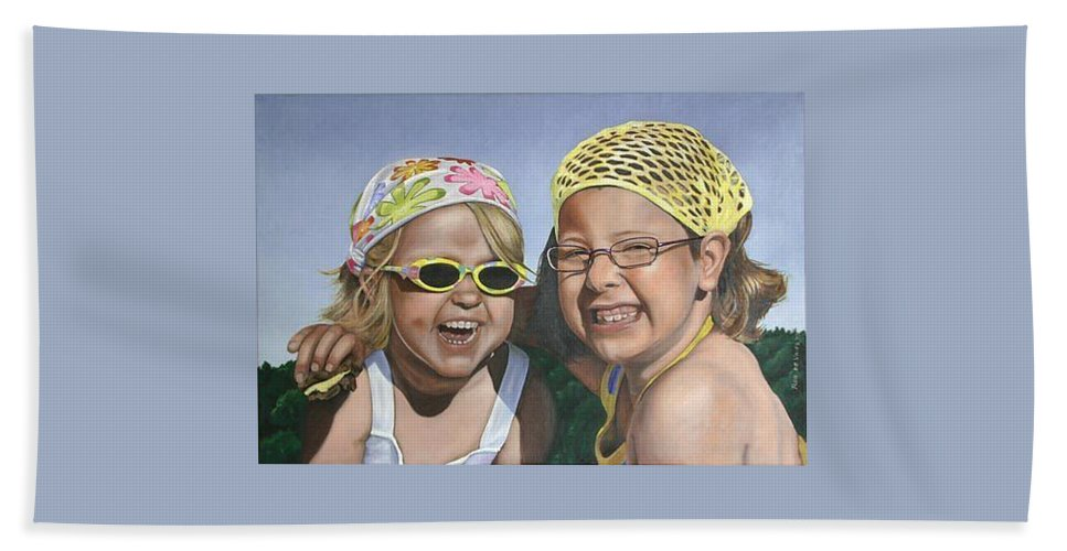 Portrait Hand Towel featuring the painting Nina And Francis by Rob De Vries